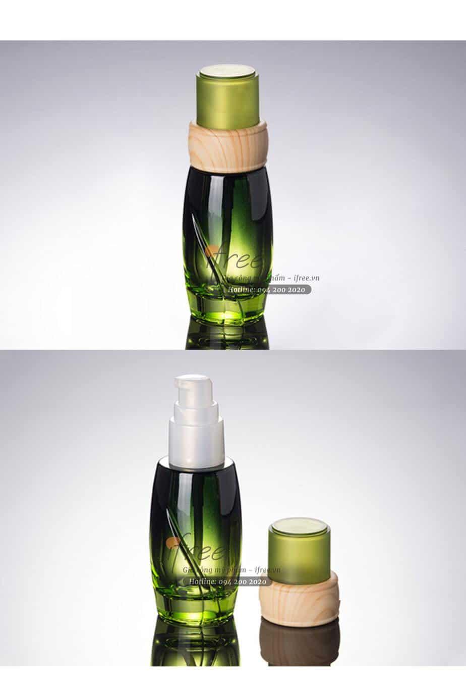 chai serum xanh lá nắp viền gỗ