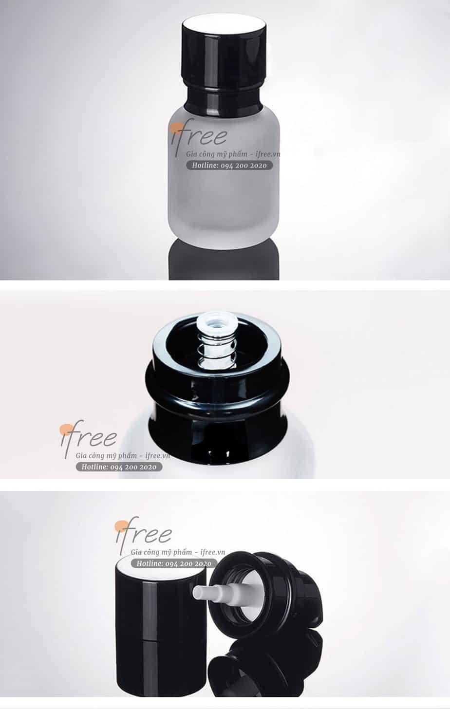 set chai thủy tinh trắng nắp đen-hcm