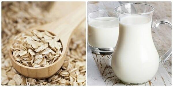 tắm trắng bằng bột yến mạch và sữa tươi