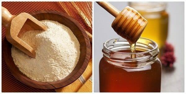 trị mụn bằng cám gạo và mật ong
