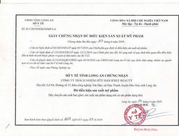 hồ sơ công bố sản phẩm mỹ phẩm bao gồm giấy đăng ký kinh doanh