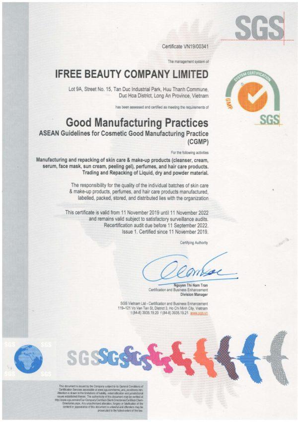 công bố nhà máy ifree đạt chuẩn sgs