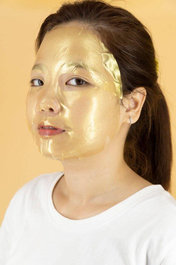đắp mặt nạ pha lê vàng 24k gold crystal mask